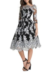Chi Chi London Metallic 3/4 Baroque Style Tea Dress