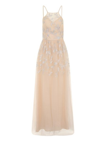 Chi Chi London Metallic Embroidered Maxi Dress