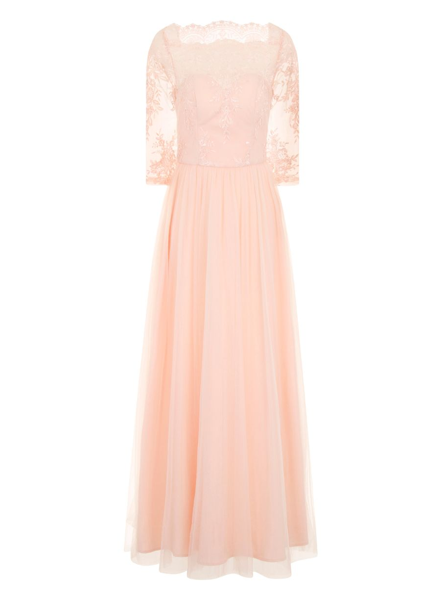 Chi Chi London Chi Chi London Embellished Embroidered Maxi Dress, Pink