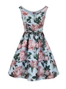 Floral Print Bardot Midi Dress