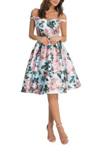 Chi Chi London Floral Print Bardot Midi Dress