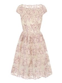 Chi Chi London Embroidered Floral Midi Dress
