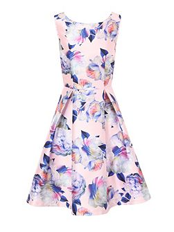 Digital Floral Print Midi Dress