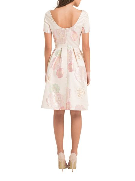 Chi Chi London Floral Brocade Scoop Back Midi Dress