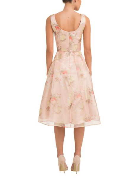 Chi Chi London Floral Print Organza Overlay Midi Dress