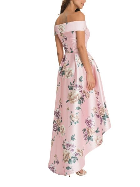 Chi Chi London Floral Print Bardot Dip-Hem Dress