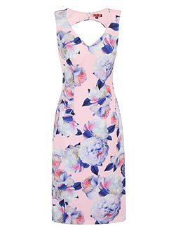 Graphic Floral Print Bodycon Dress