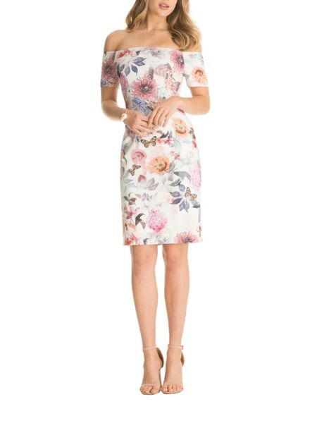 Chi Chi London Floral Print Bardot Bodycon Dress