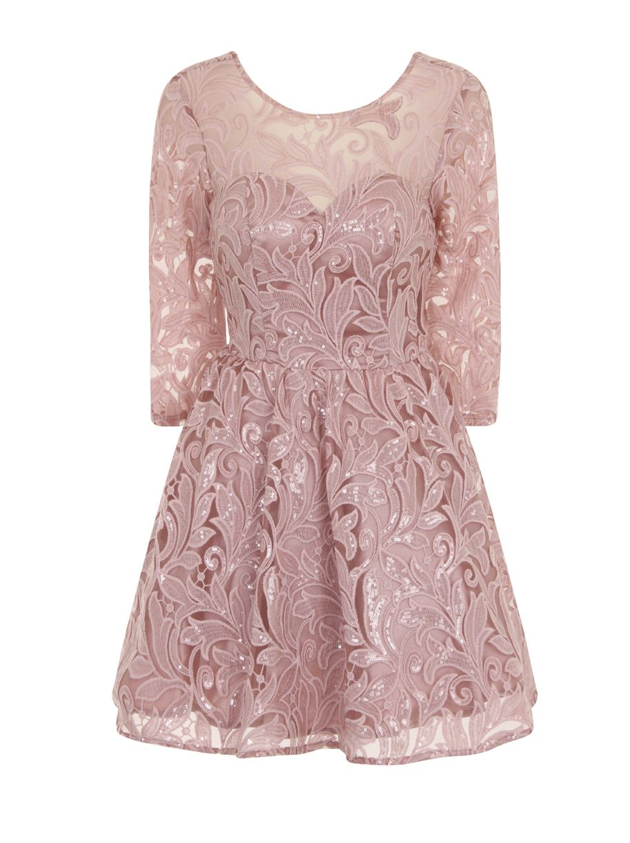 Chi Chi London Chi Chi London Sequin Lace Skater Party Dress, Pink