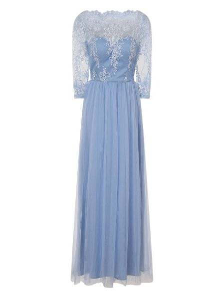 Chi Chi London Embellished Embroidered Maxi Dress