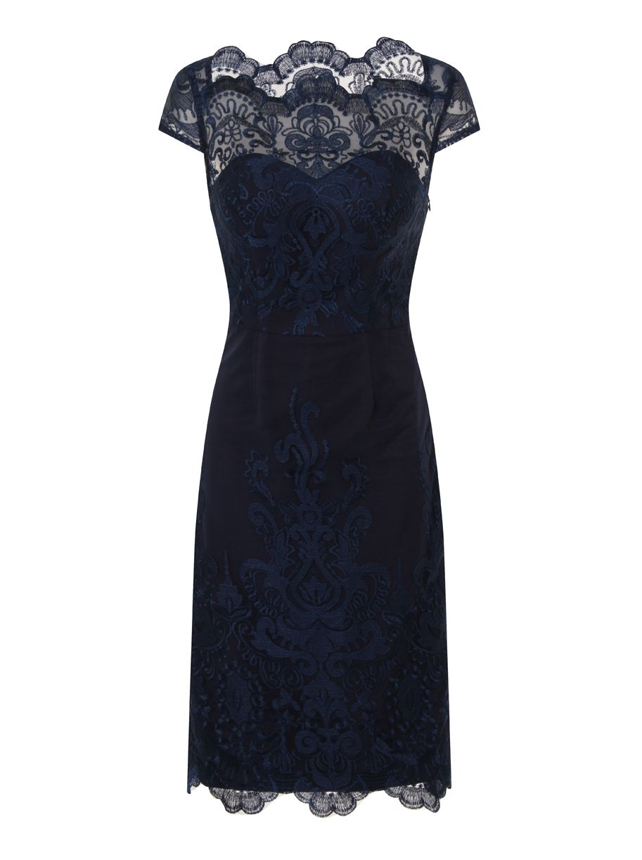 Chi Chi London Embroidered Cap Sleeve Bodycon Dress, Blue