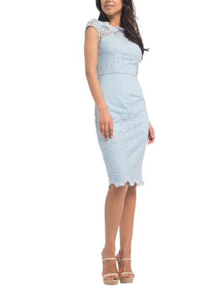 Chi Chi London Embroidered Cap Sleeve Bodycon Dress