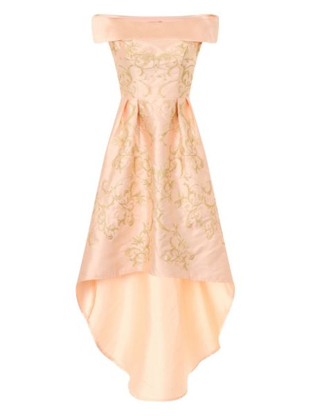 Chi Chi London Embroidered Bardot Dip Hem Dress