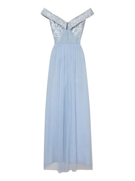 Chi Chi London Embroidered Bardot Maxi Dress