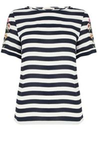 Oasis Formal Stripe Embroidered Tee