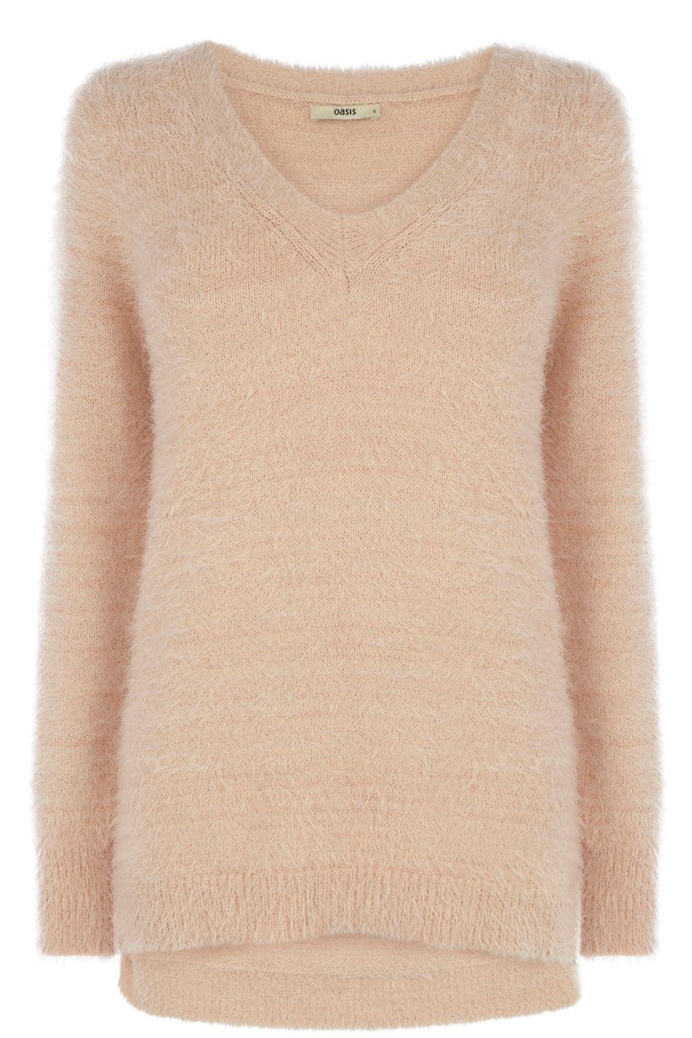 Fluffy v-neck jumper