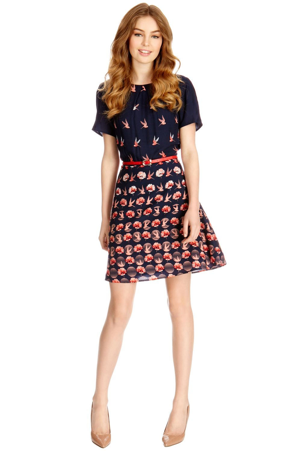 Bird Rose Border Skater Dress