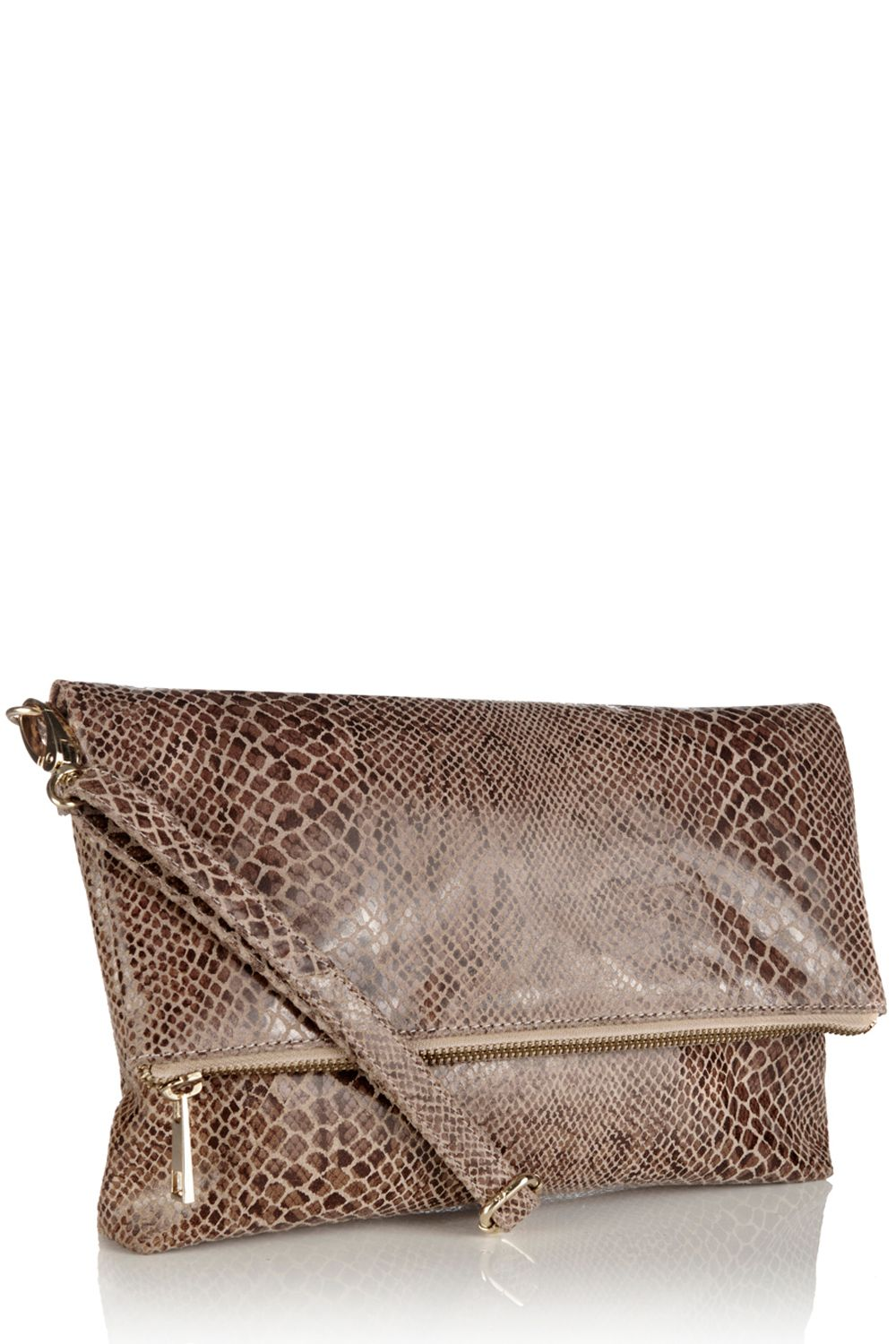 Celeste leather fold over clutch bag