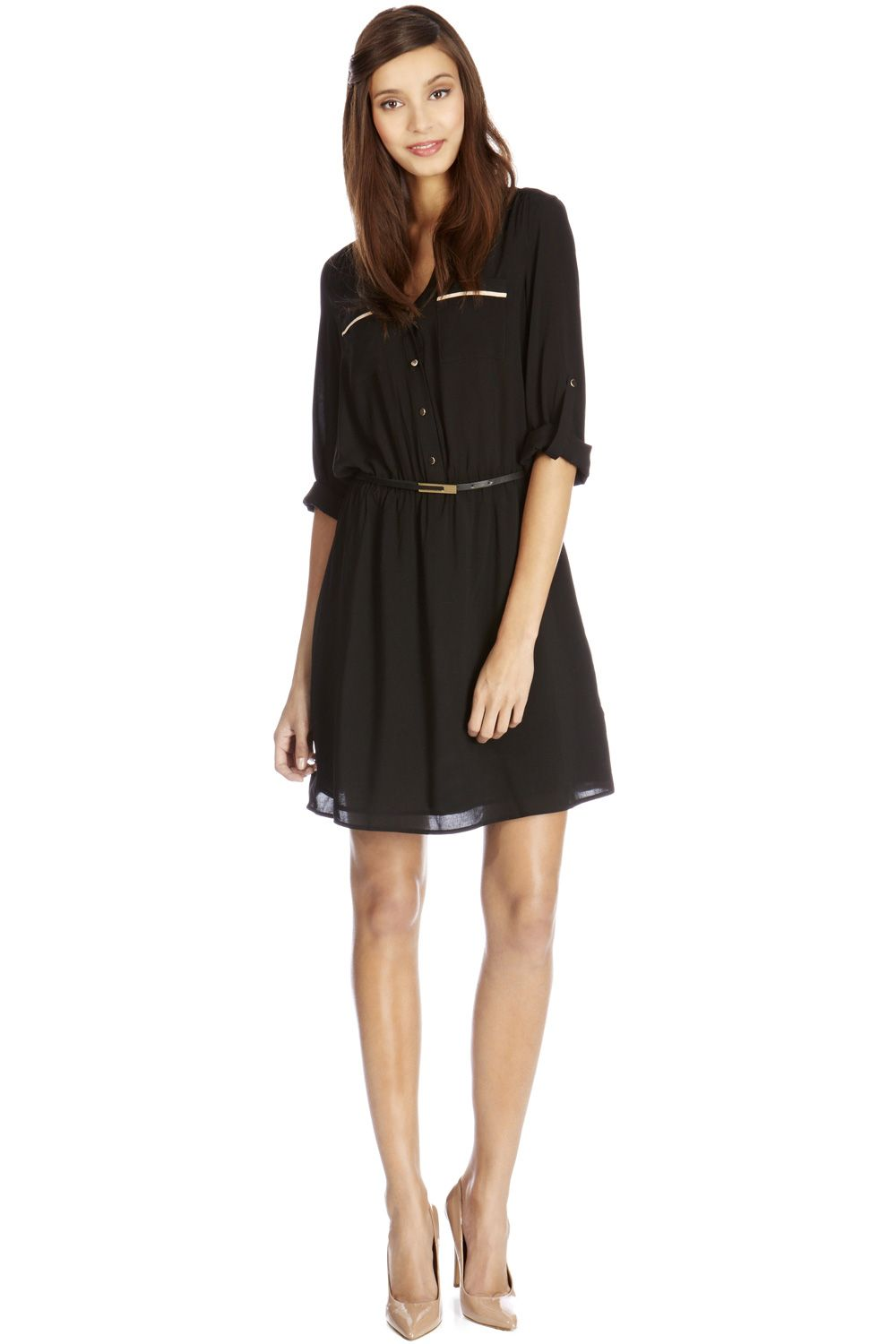 Viscose Colour block Shirt Dress