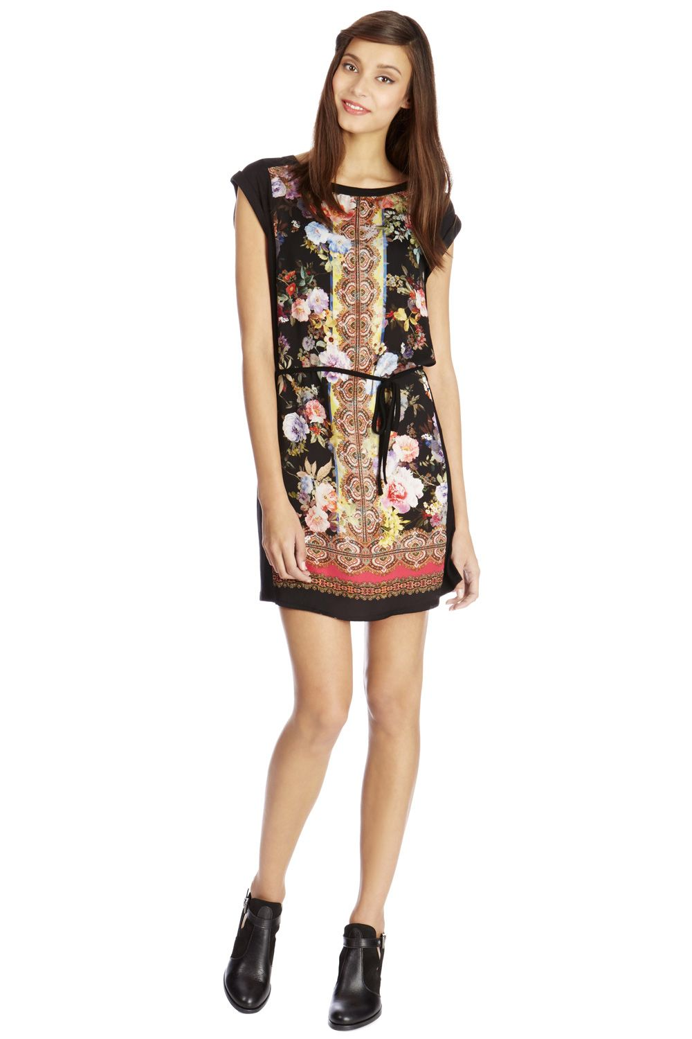 Rose Scarf Print T-shirt Dress
