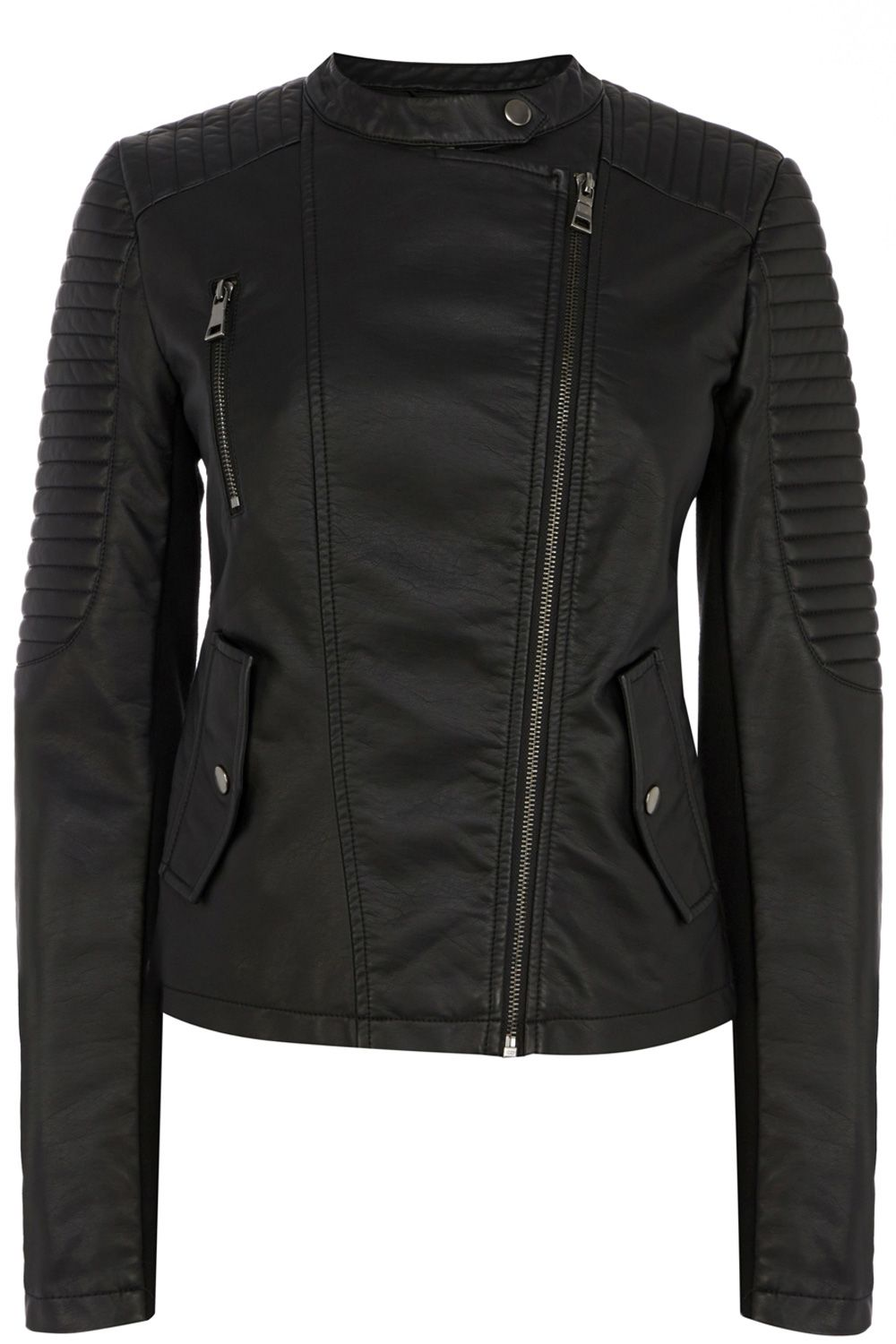 Sophie faux leather collarless jacket