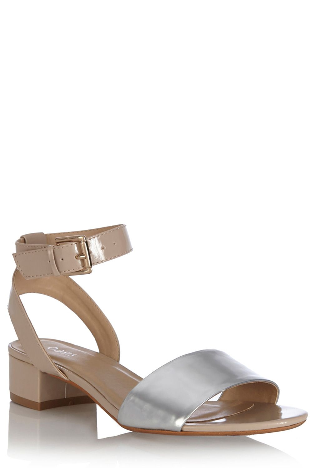 Colour block two part heel sandals