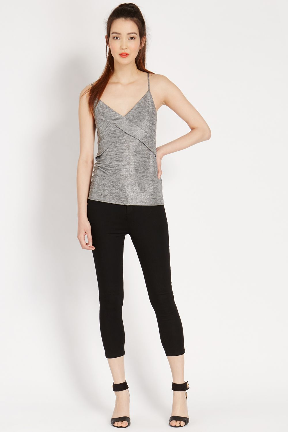 Metallic wrap camisole