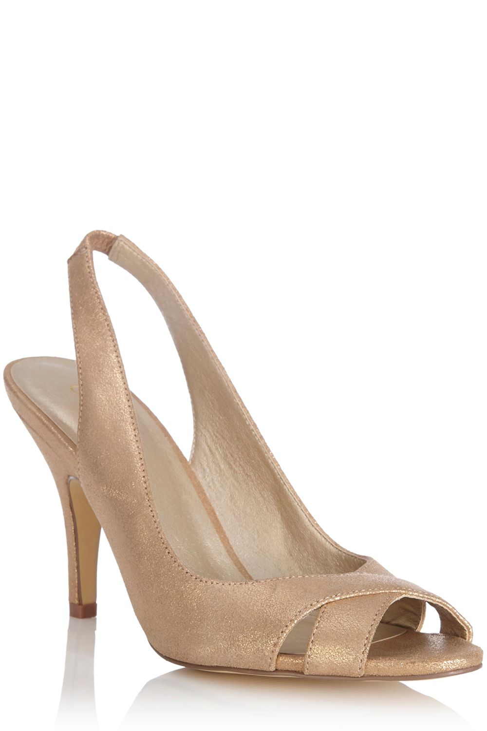 Peep toe leather sling back shoe