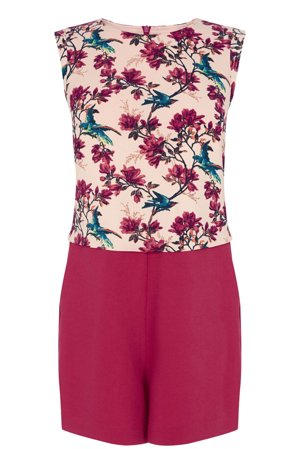 Bird print lana playsuit