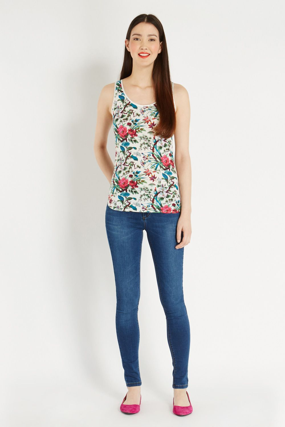 Tropical forest print vest top