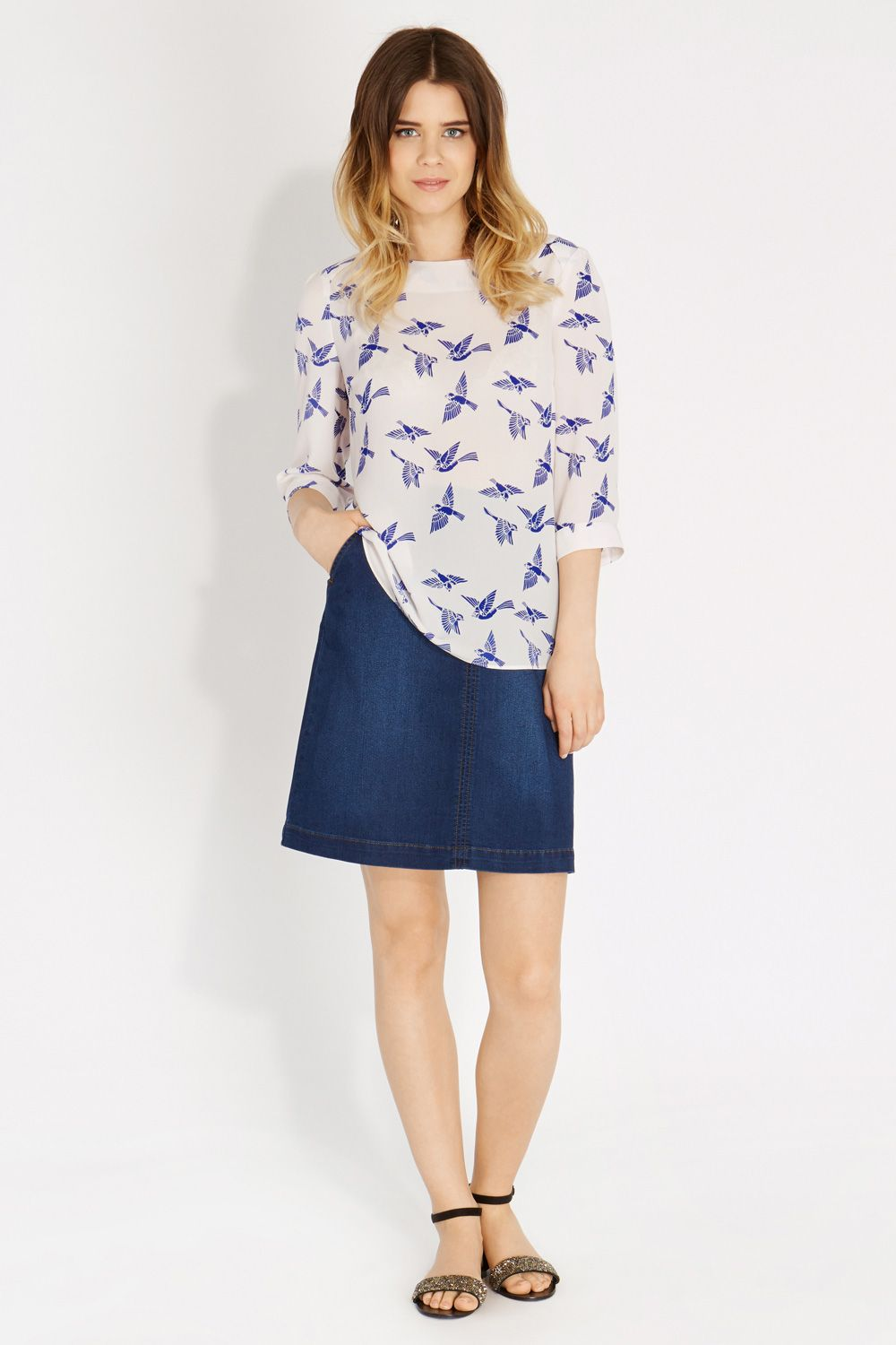 Bird print drape sleeve top
