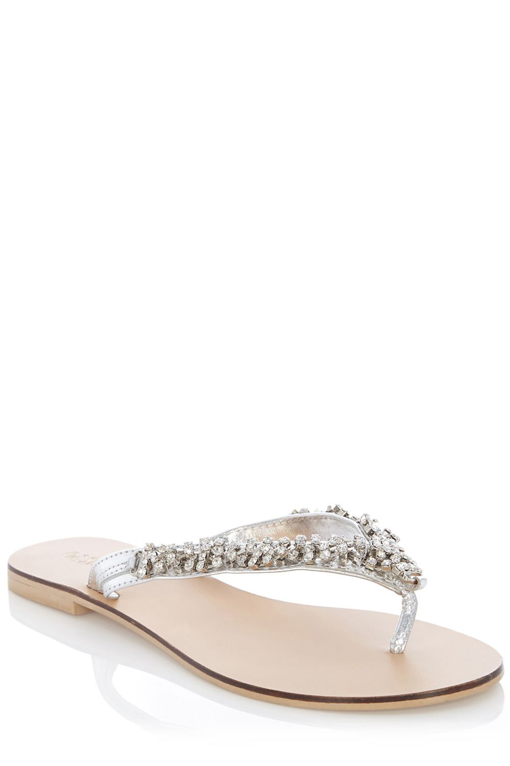 Crystal sparkle toe post sandals