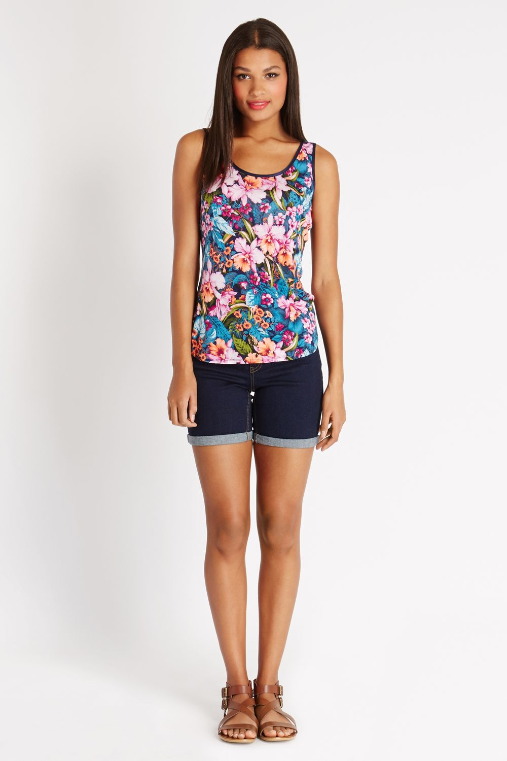 Tropical floral vest top