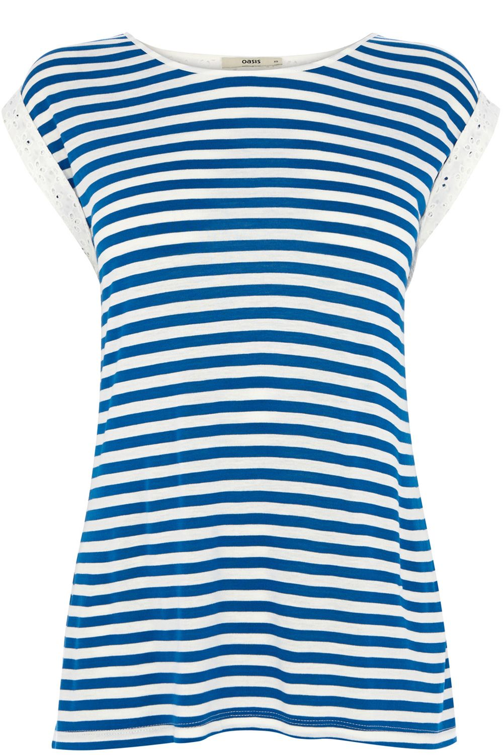 Broderie sleeve stripe T-shirt