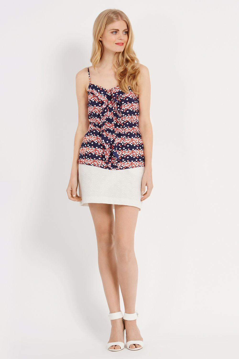 Heart print stripe cami top