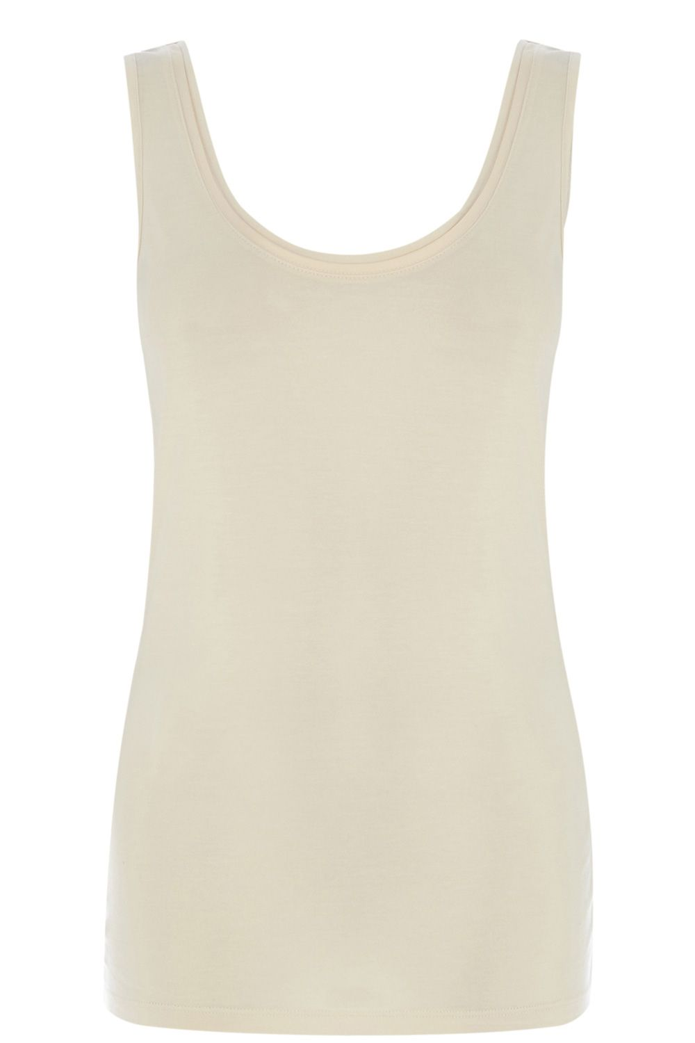Scoop back double trim vest top