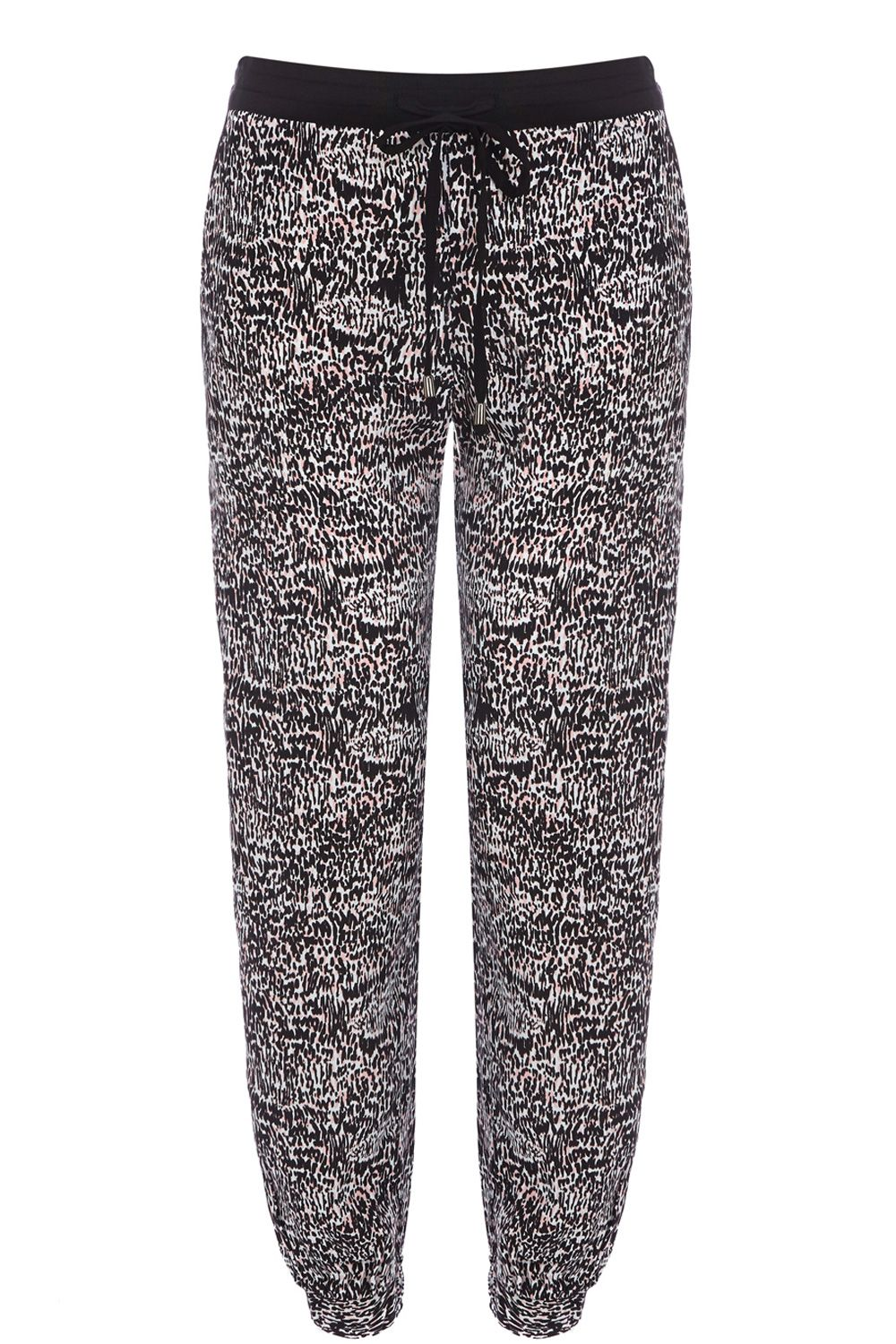 Animal print patched trousers