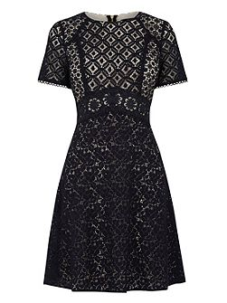 Patched Lace Skater Dress