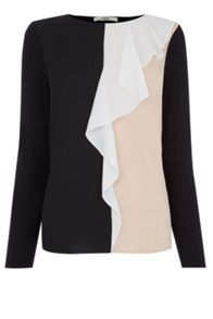 Oasis Colour Block Ruffle Blouse