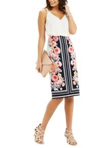 Oasis Scarf Floral Pencil Skirt