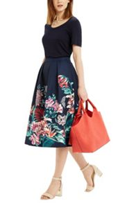 Oasis TROPICAL JACQUARD MIDI SKIRT