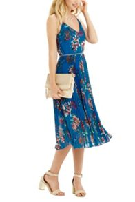 Oasis Tropical Print Pleat Midi