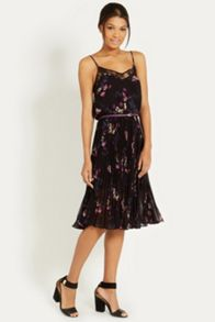 Painted Floral Pleat Midi Dres