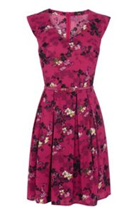 Shadow floral viscose dress