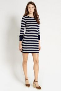 Stripe button shoulder tunic dress