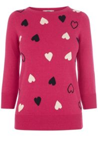 Scattered Heart Cute Knit Top