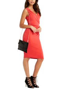 Oasis Rouched V Neck Dress