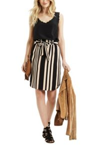 Oasis Paperbag Stripe Skirt