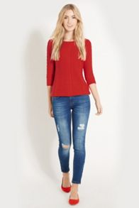 Textured Cotton Waffle Jumper