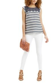 Oasis Lace Trim Stripe Top